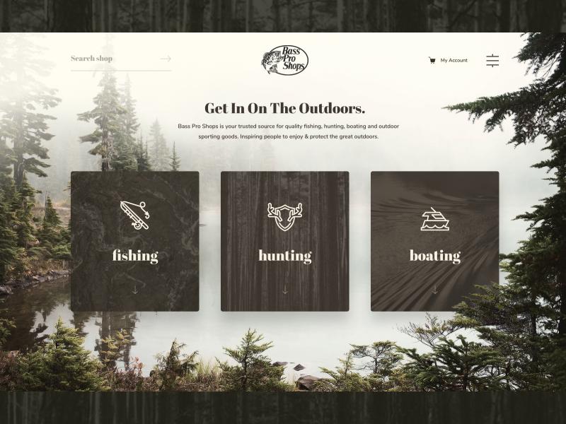 BassPro Hero unfold nature web webdesign outdoors hunting fishing basspro