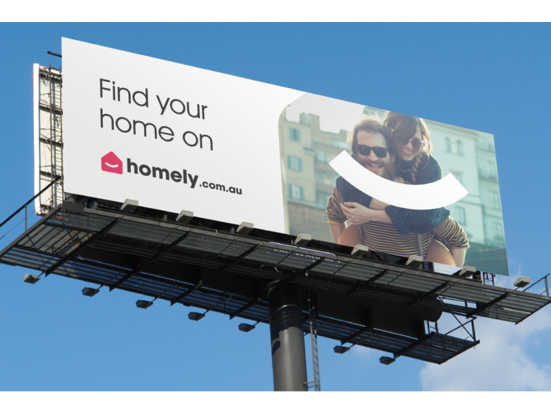 Homely Billboard property search logo brand branding smile happy real estate homely billboard
