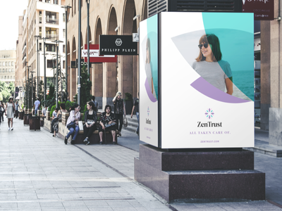 ZenTrust Concept street unfold signage sign billboard logo branding concept zentrust