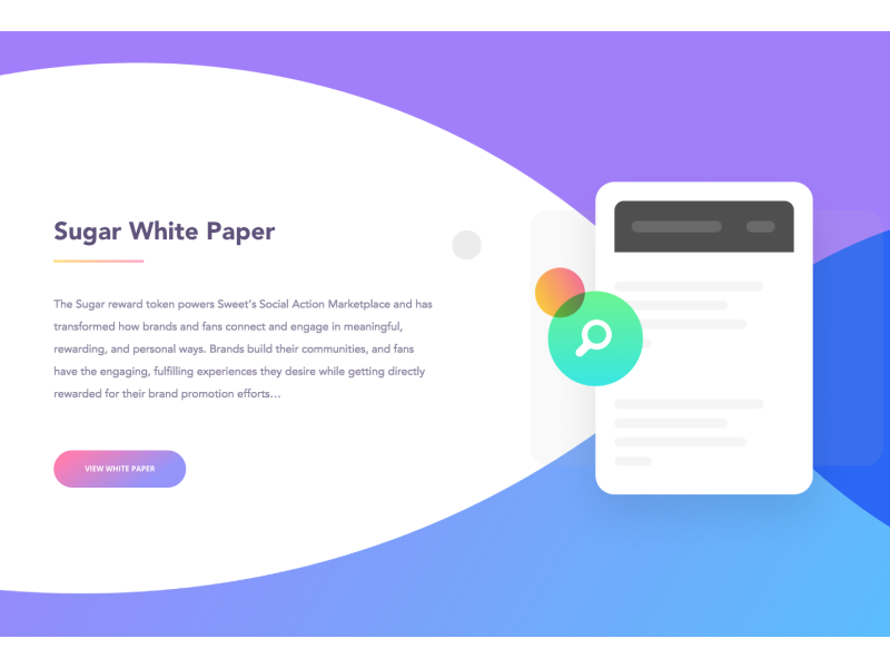 Sugar.io White Paper cryptocoin app web website vibrant colorful branding elements ui crypto currency crypto white paper