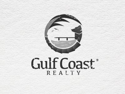 GC Logo  logo trademark seal symbol gulf stream realty house shore beach palm tree birds sea gulls waterfront ocean water front dock design