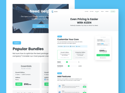 Kizen Pricing monthly users saas marketing sales crm kizen app website packages page pricing