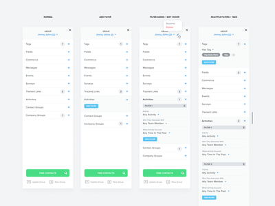 Kizen Filters & Tags groups search details design system button label dropdown settings widget design product webapp ui  ux ui tags filters