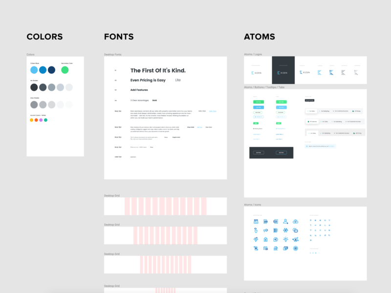 Kizen Design System logo icon tabs text fields buttons grid molecules particles atoms fonts colors guide style guide design system
