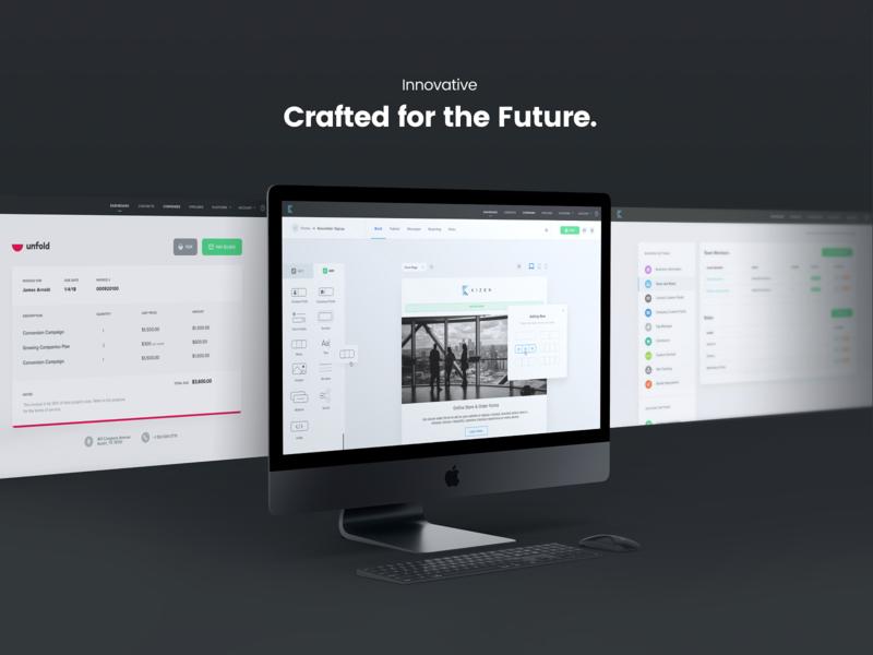 Kizen Future website interface icons settings drop drag drag and drop builder content invoices design uidesign webapp app prodcut ux ui screens mockups kizen