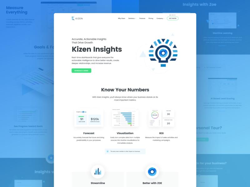 Kizen Insights branding unfold team design uidesign website webapp ui platform illustration zoe graphs contacts kizen crm