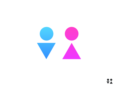 Simple Restroom sign bathroom pink blue female male women mens restroom
