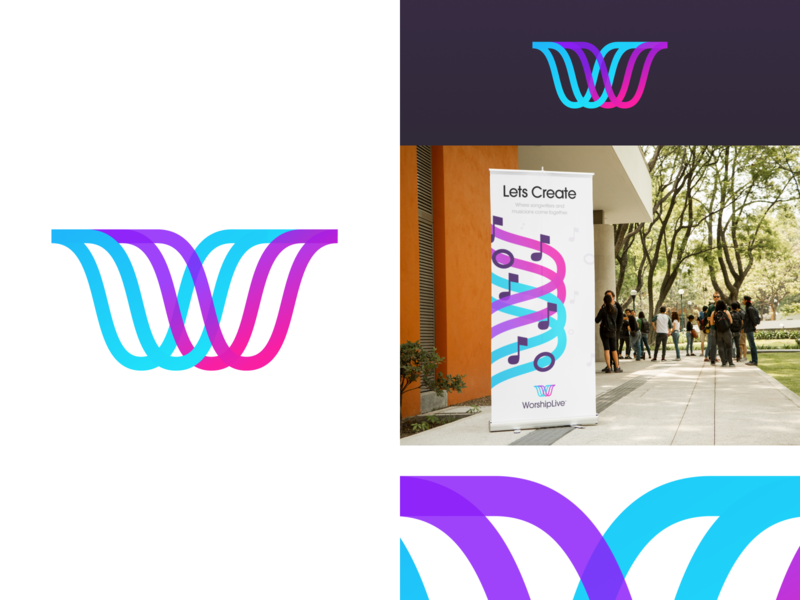 WorshipLive Logo unfold notes musical music musicians song songwriters god worship branding logo