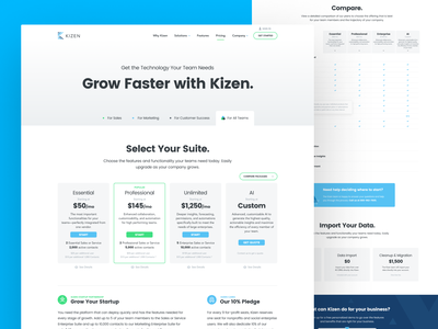 Kizen Pricing 3.0 design agency unfold pricing table rates packages design website pricing page pricing kizen