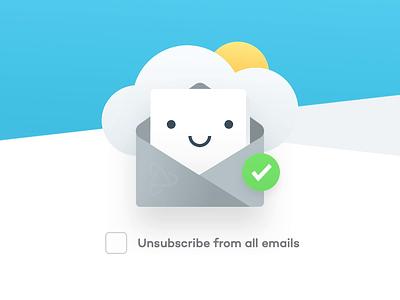 PJ Unsubscribe ux website design team agency unfold sun marketing sad happy illustration letter cloud emails unsubscribe