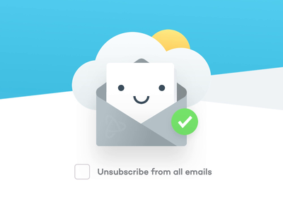 PJ Unsubscribe ux website design team agency unfold sun marketing sad happy illustration letter cloud emails unsubscribe
