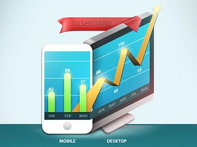 Growth Icon growth charts bar graphs iphone imac mobile desktop track ribbon dashboard cpanel icon illustration arrow blue custom results