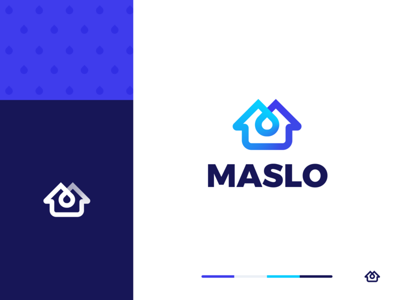 Maslo Logo unfold branding brand logo m logo realestate roof drop services home house houses paint
