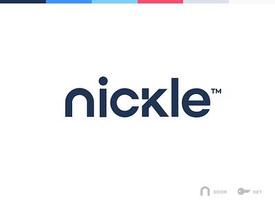 Nickle Logo negative space negative unfold house home realestate door key brand branding logo nickle