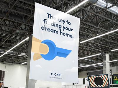 Nickle Illustration vector fingers branding brand clouds sky market buy sell home realestate key illustration nickle