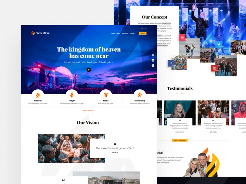 Flame of Fire Website social testimonial vision ministry christian web logo branding design branding design homepage website