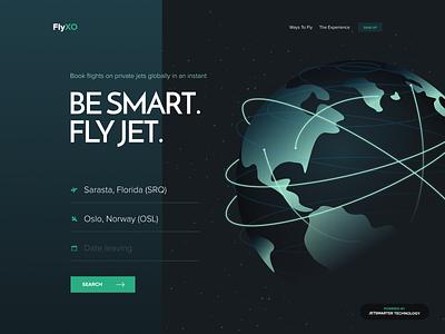 FlyXO Landing design unfold ui ux arrival departure airport fly private jet private travel international global world illustration website design website