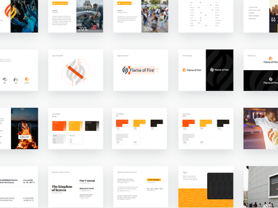 Flame of Fire Brand website mockups grid meaning colors construction agency unfold logo fire flame guidelines brandbook brand