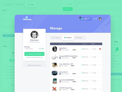 Giveaway Dashboard team unfold design cms manage app giveaway product ux ui dashboard ui portal dashboard