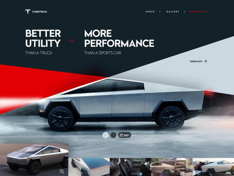 Tesla Cybertruck agency unfold web websites hero website design vehicle electric cybertruck truck tesla
