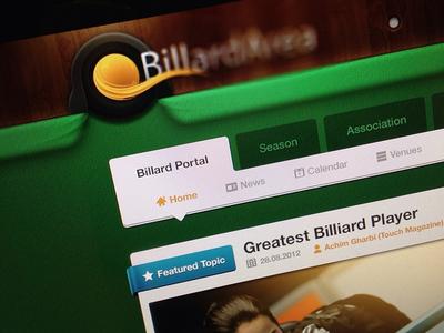 BA Header header web website design app pool billiard billard snooker hole menu home news calendar material texture featured topic wood green