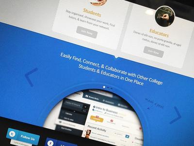 BS Slider grey blue join tabs activity dashboard design website web landing splash home homepage network social college students educators arrow slide slider page