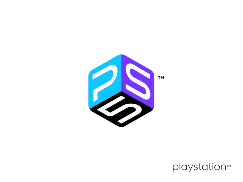 PS5 Logo box cube xbox nintendo consule gaming game team unfold agency design casestudy redesign logo brand playoff fun concept playstation ps5