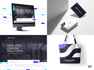 Upcrunch Brand unfold bank finance lending money business card landingpage landing websites mocks mockups bag merch pattern form concept website brand logo upcrunch