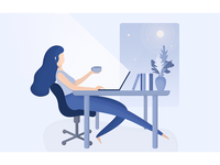 Girl working at night — illustration