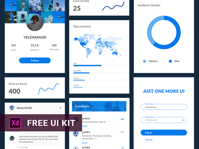 Adobe XD UI KIT Freebies dribbble-ukraine ui kit grid flat xd web statistic graph comments login profile bar chart pie chart free kit interface instagram ux ui freebies