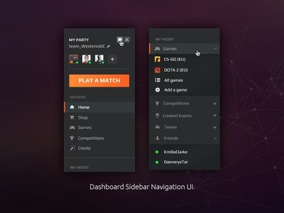 Dashboard Sidebar UI for FACEIT faceit first post video games game play match navigation ui sidebar dashboard esports
