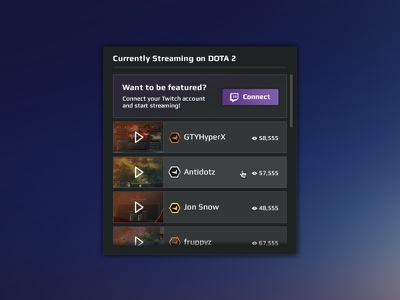 Featured streamers sidebar widget video games video stream game stream esports stream faceit widget match play gaming streamer streaming