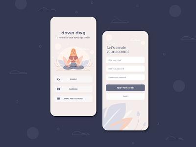 Sign Up Form - Daily UI 001 signupform app wellness yoga app yoga downdogapp dailyui001 dailyui dailyuichallenge userexperiencedesign design mobile app design mobile ui interfacedesign ui