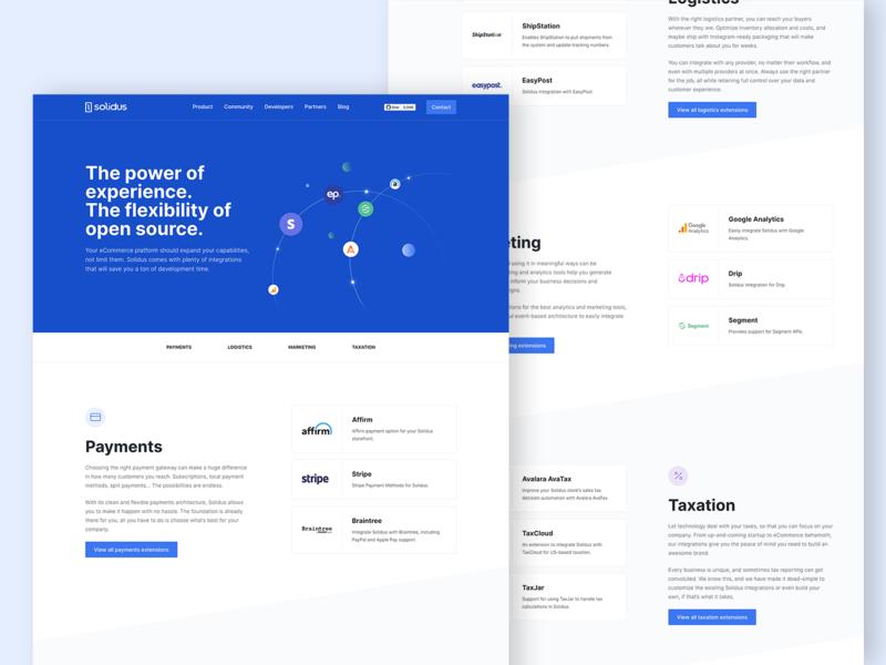 Integrations - Solidus websites integrations website web design web ux ui product design platform landing page ecommerce