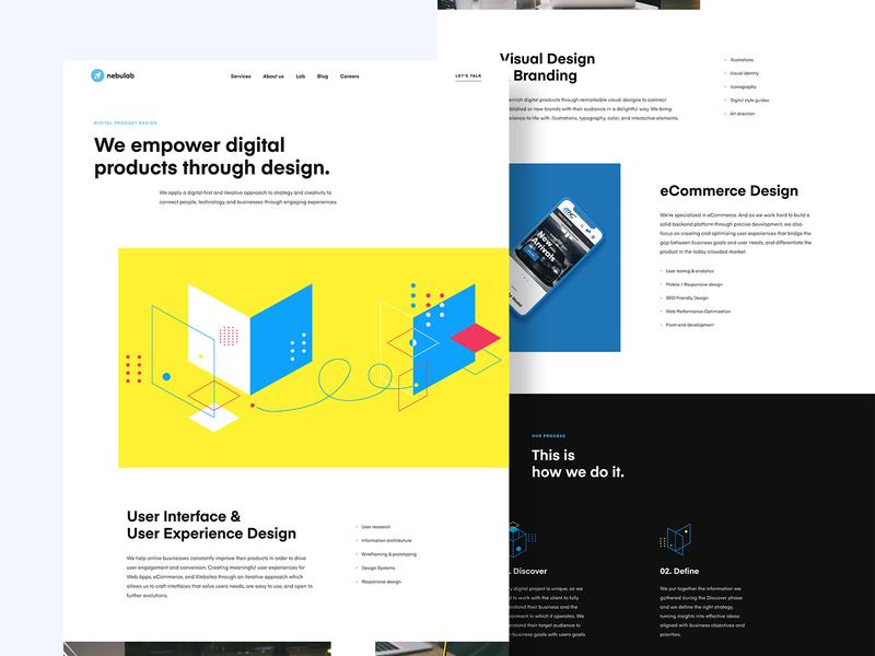 Product Design - Nebulab agency web website landing page ux ui web design