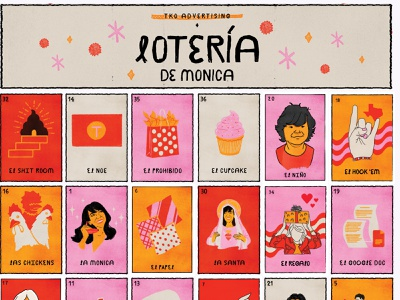 Lotería illustration mexican latino latina cards ui cards game loteria