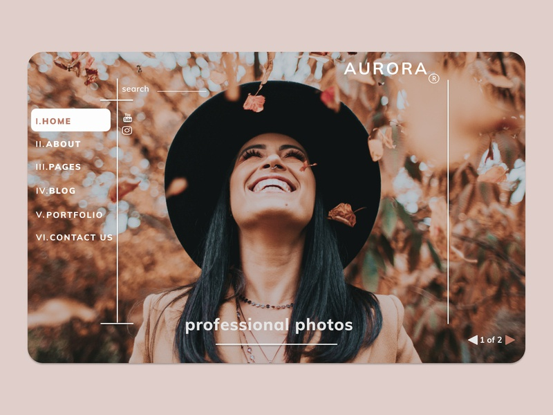 Website for professional photographer Aurora (Home Page)