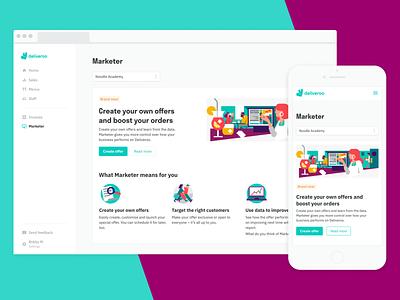 Marketer – restaurant ad platform tools product design illustration marketer growth deliveroo