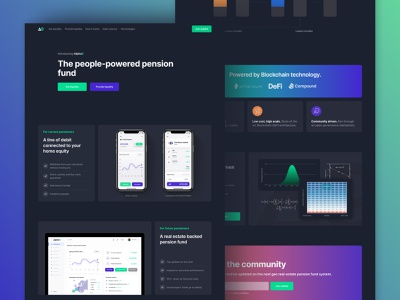 The people-powered pension fund mobile app app blockchain how it works graphic design lottie startup web design design branding illustraion logo black ux ui figma