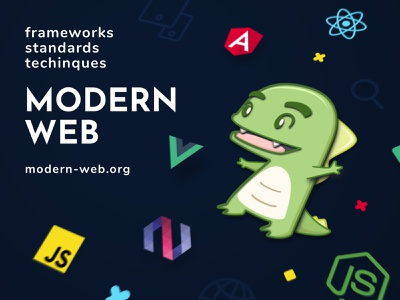 Modern Web Poster Design web vue react polymer node modern illustraion js graphic design framework flat creative dinosaur color brand angular adobe 3d 2d
