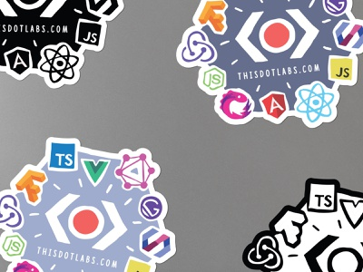 This Dot Labs stickers vue react polymer node js framework hand drawn graphic  design angular print modern logo creative color brand adobe 2d illustraion flat graphic design