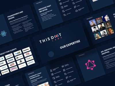 This Dot presentation print digital service framework leadership brand template layout creative presentation dark blue modern adobe 2d illustraion flat graphic design