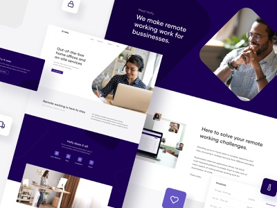 Hofy - Home offices website visual identity modern website ui violet shop purple simple onepage minimal illustration figma graphic design ecommerce clean adobe