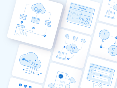 TriggerMesh illustrations report open source trigger function code serverless server cloud simple minimal icons illustraion gra api time chat clean blue 2d figma
