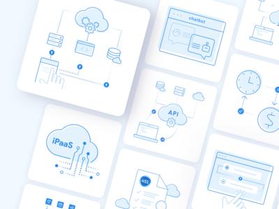 TriggerMesh illustrations report open source trigger function code serverless server cloud simple minimal icons illustraion gra api time chat clean blue 2d figma