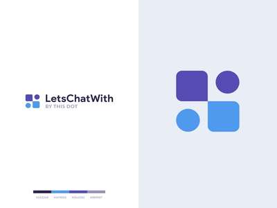 LetsChatWith logo opportunity interests goal communication rounded purple logo design logotype identity creative blue violet people dialog simple minimal branding logo clean figma