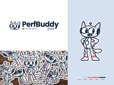 PerfBuddy Mascot report analysis happy flat minimal logotype modern cat robot identity grey mascot logo brand adobe adobe illustrator 2d