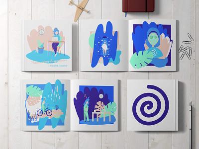 Petites scènes du quotidien scenes portfolio print design mockup illustration