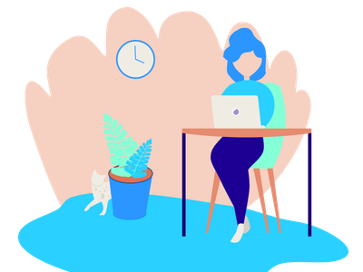 Home Office - Freelance freelance vector scenes portfolio design illustration