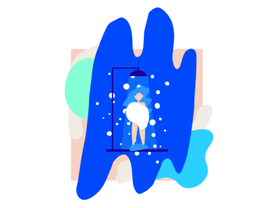 Shower Time design print freelance scenes portfolio illustration